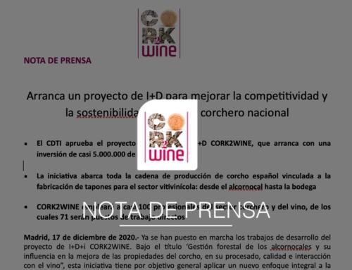 Nota de prensa del lanzamiento del proyecto CORK2WINE